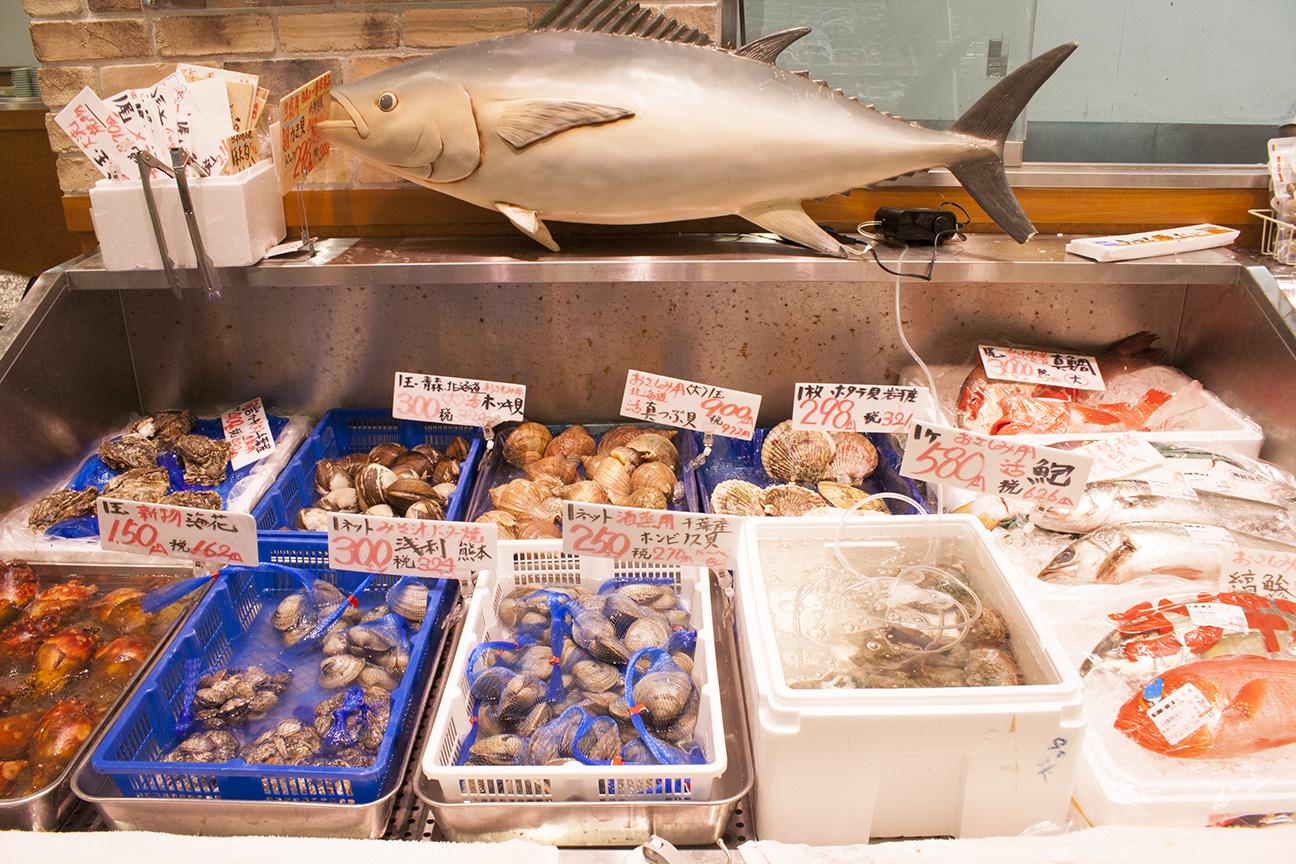 新鮮な魚介類をどうぞ。