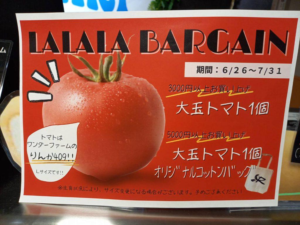 ¥3,000以上のお買上で、ワンダーファームのトマト(Lサイズ)1個プレゼント🍅